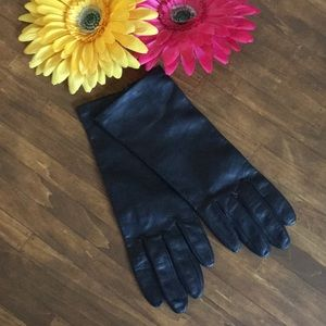 Black Silk And Leather Gloves NWOT
